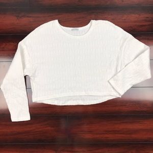 [ Zara ] Long Sleeve Crop Top Textured White